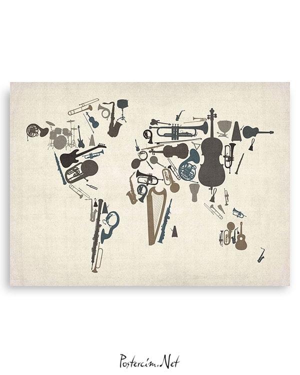 Dünya-Haritası-Enstrüman-posteri-3