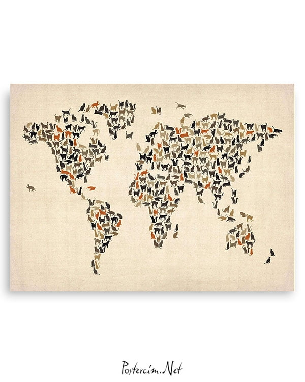 Dünya-Haritası—Kedi-posteri-1