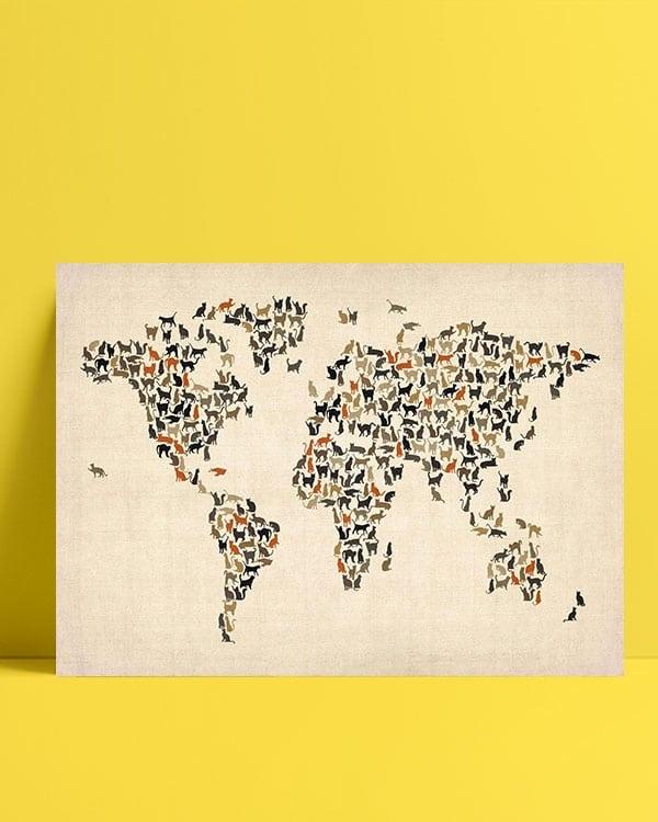 Dünya-Haritası—Kedi-posteri-2