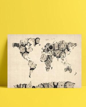 Dünya Haritası - Saat posteri satın al
