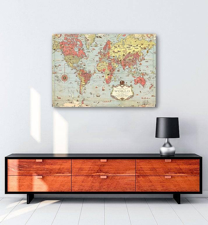 vintage dünya haritası al