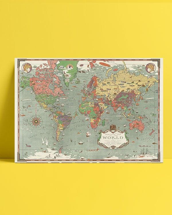 eskitme dünya haritası afiş