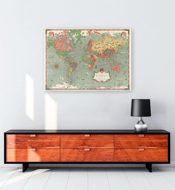 eskitme dünya haritası kanvas tablo
