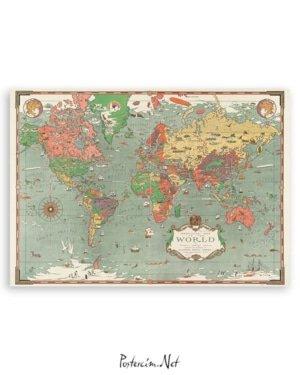 eskitme dünya haritası poster