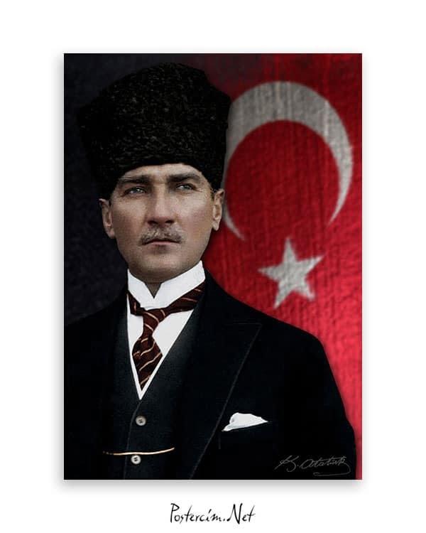 Türk Bayrağı ve Atatürk Afişi