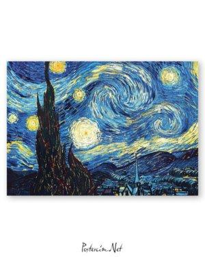 Vincent van Gogh - Yıldızlı gece afişi