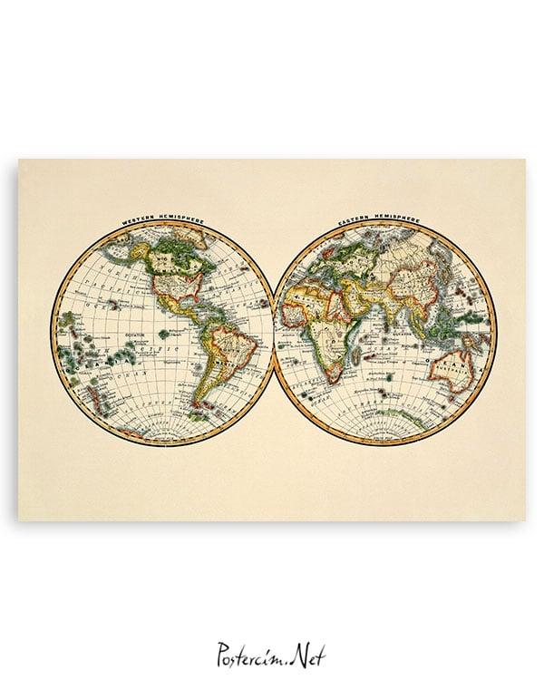 iki Parça Dünya Haritası Poster
