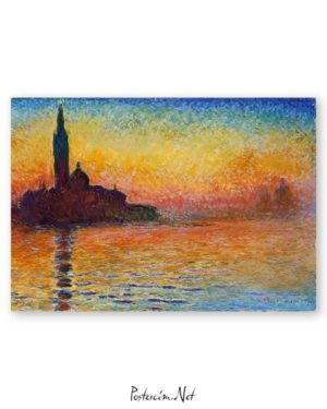 Claude Monet Alacakaranlıkta San Giorgio Maggiore Afişi