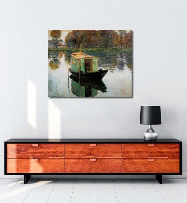 Claude Monet - Atölye Tekne kanvas tablo