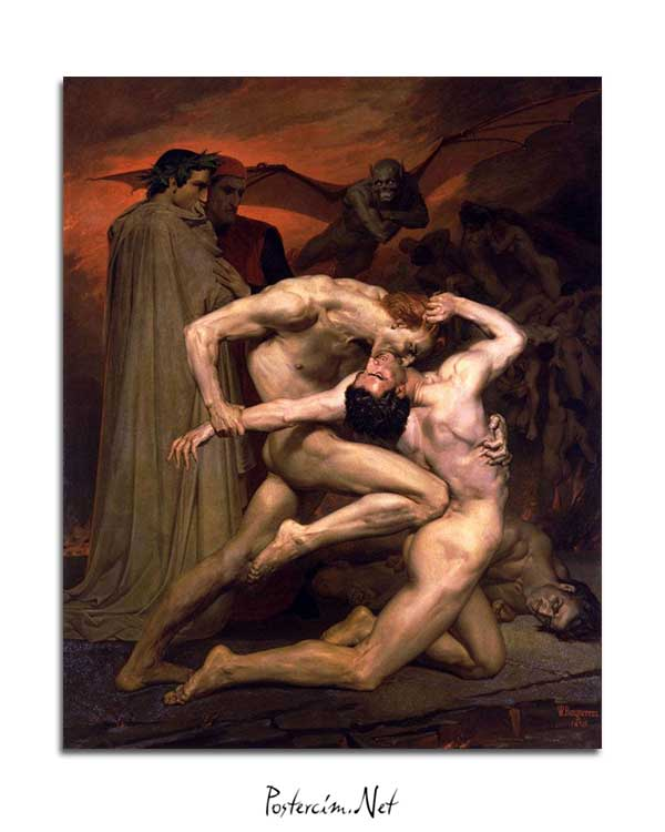 William-Adolphe Bouguereau - Dante ve Virgil Cehennemde posteri