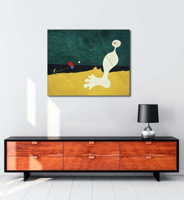 Joan Miró - Kuşa Taş Atan Kişi kanvas tablo