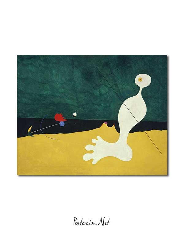 Joan Miró - Kuşa Taş Atan Kişi posteri