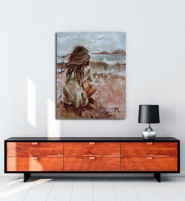 Monika Luniak - Deniz Kenarı kanvas tablo