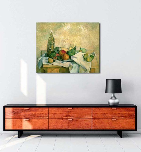 Natürmort - Şişe ve Meyveler kanvas tablo