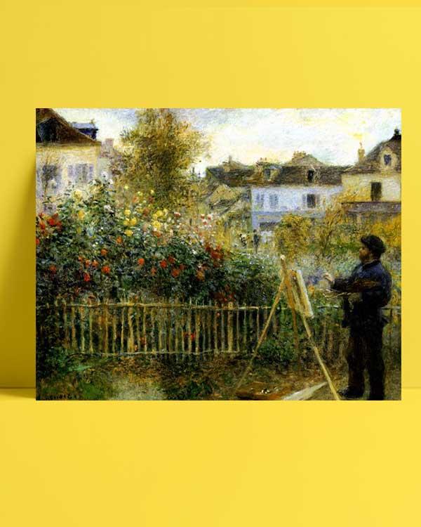 Pierre Auguste Renoir -Monet Bahçesinde Resim Yaparken afişi