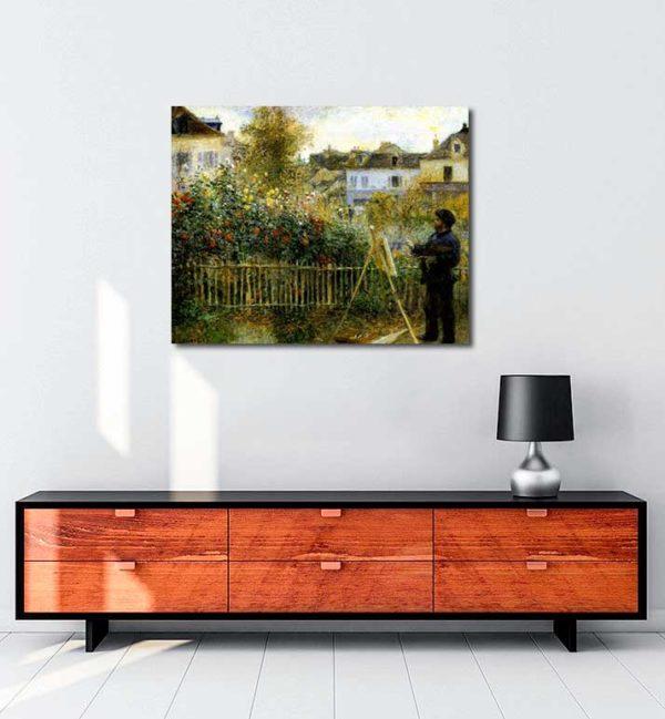 Pierre Auguste Renoir -Monet Bahçesinde Resim Yaparken kanvas tablo