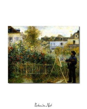 Pierre Auguste Renoir -Monet Bahçesinde Resim Yaparken posteri