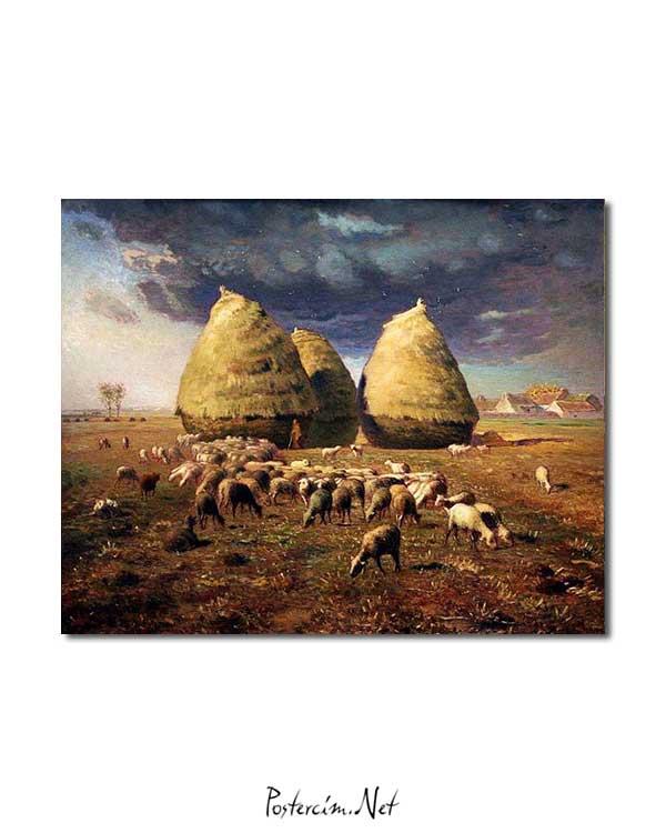 Jean François Millet - Sonbaharda Tınazlar posteri