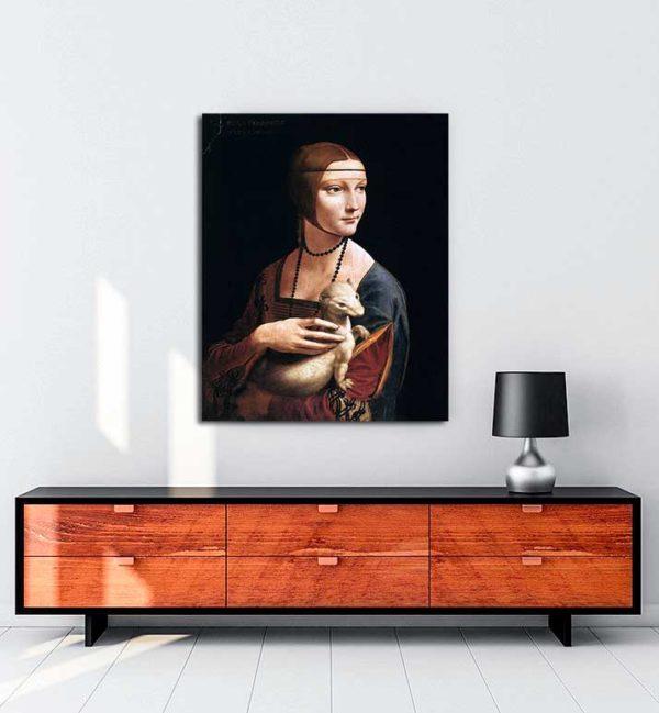 Leonardo Da Vinci - Erminli Kadın, Cecilia Gallerani kanvas tablo