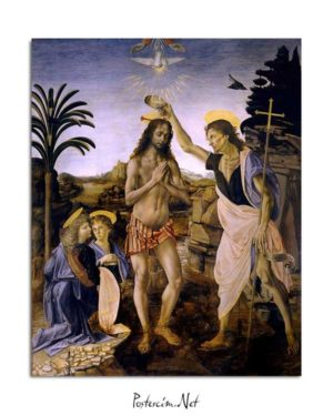 Leonardo Da Vinci - İsa'nın Vaftizi posteri