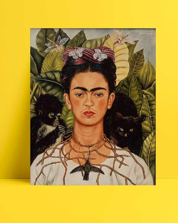Frida Kahlo - Dikenli Kolyeyle Portre afişi