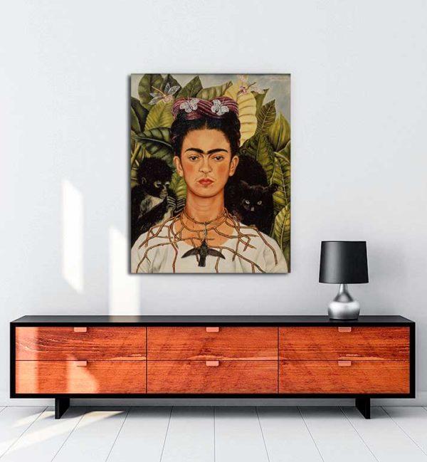 Frida Kahlo - Dikenli Kolyeyle Portre kanvas tablo