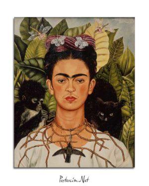 Frida Kahlo - Dikenli Kolyeyle Portre posteri