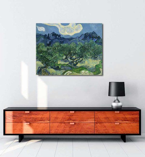 Vincent van Gogh - Alpilles Önünde Zeytin Ağaçları kanvas tablo