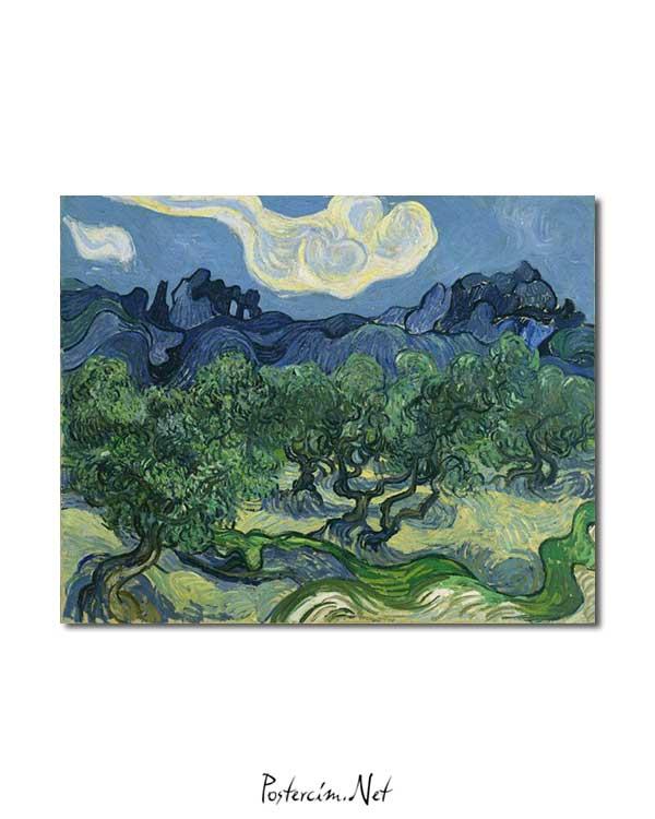Vincent van Gogh - Alpilles Önünde Zeytin Ağaçları posteri