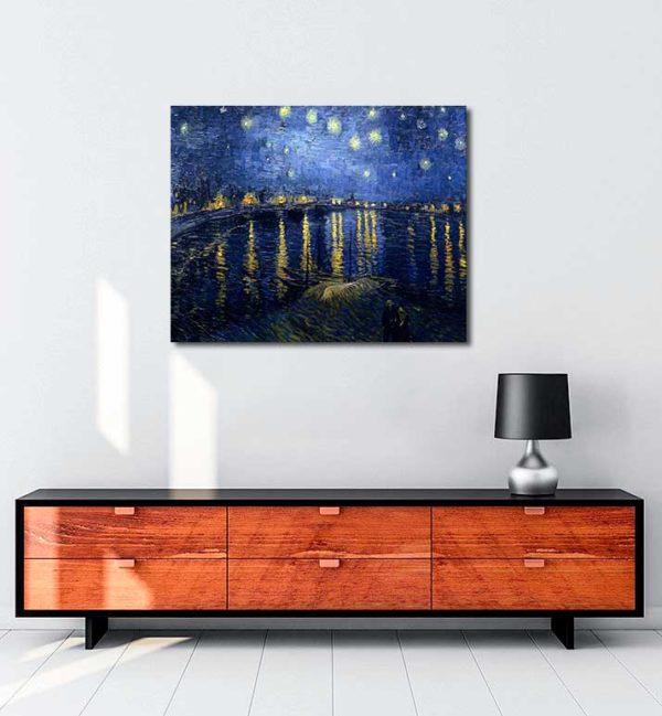 Vincent van Gogh - Rhône Üzerinde Yıldızlı Gece kanvas tablo