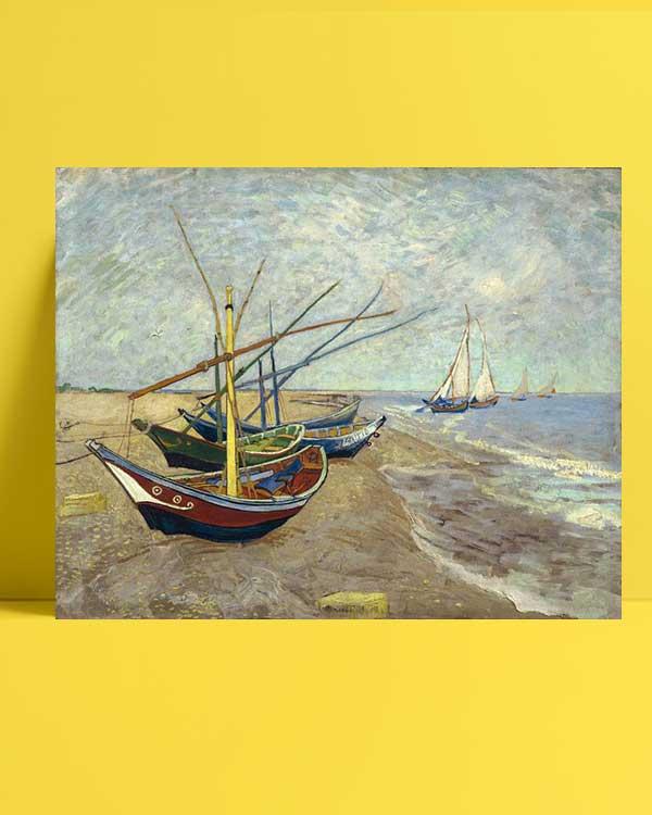 Vincent van Gogh - Saintes-Maries Sahilinde Balıkçı Tekneleri afişi