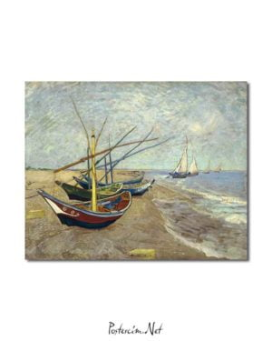 Vincent van Gogh - Saintes-Maries Sahilinde Balıkçı Tekneleri posteri
