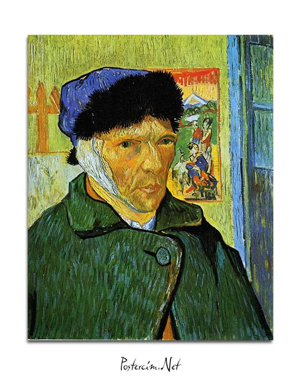 Vincent van Gogh - Sargılı Kulaklı Otoportre posteri