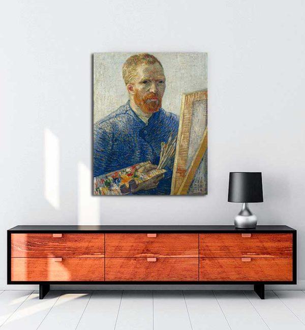 Vincent van Gogh -Şövale Önünde Otoportre kanvas tablo