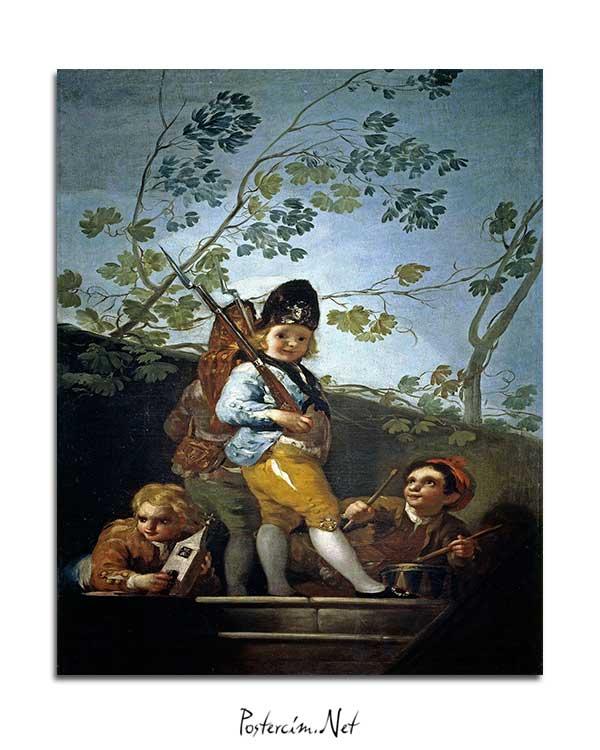 Francisco Goya - Askercilik Oynayan Çocuklar posteri