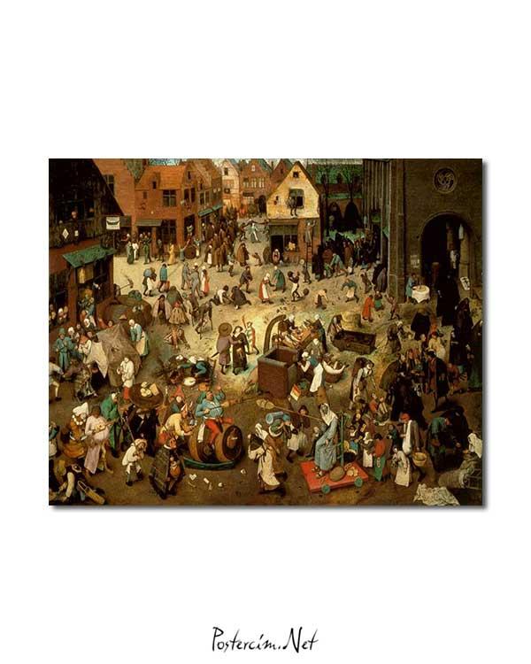 Pieter Brueghel - Karnaval ve Büyük Perhizin Kavgası posteri