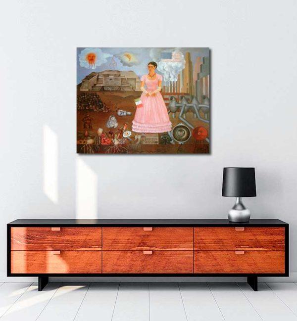 Frida KahloMeksika ve Amerika Sınırı Arasında Portre kanvas tablo