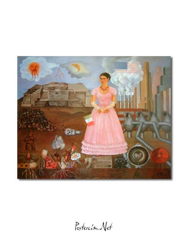 Frida KahloMeksika ve Amerika Sınırı Arasında Portre posteri