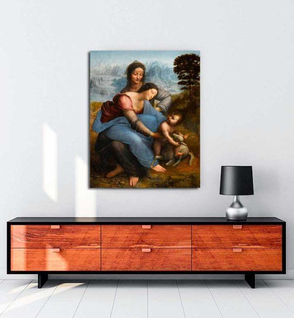 Leonardo Da Vinci - Meryem Ana, Çocuk İsa ve Azize Anna kanvas tablo