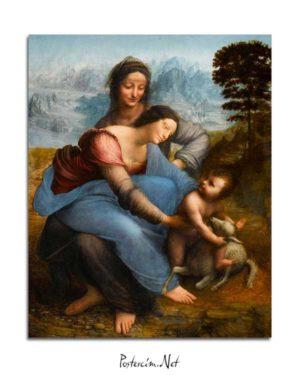Leonardo Da Vinci - Meryem Ana, Çocuk İsa ve Azize Anna posteri