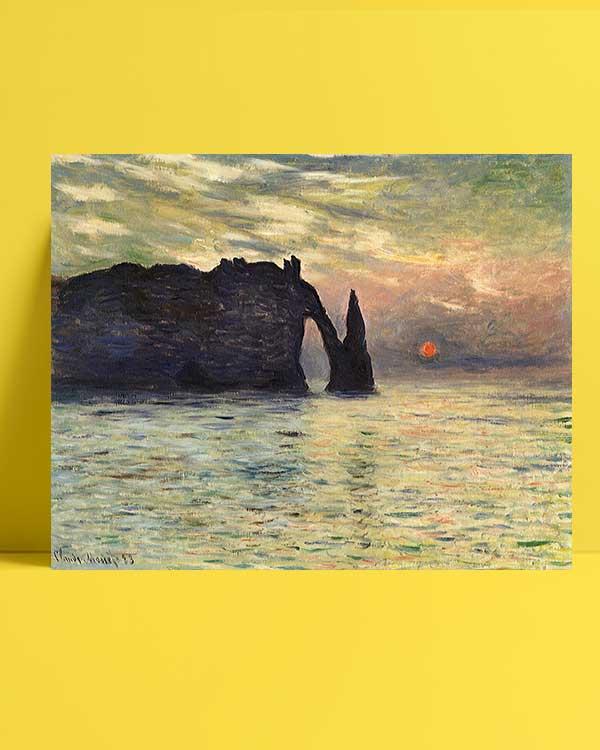 Claude Monet - Etretat, Günbatımı afişi