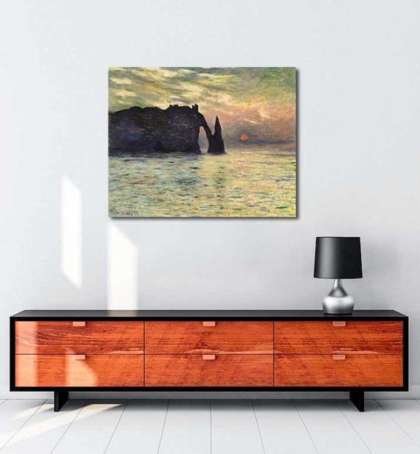 Claude Monet - Etretat, Günbatımı kanvas tablo