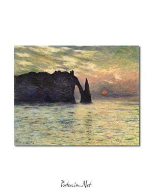 Claude Monet - Etretat, Günbatımı posteri