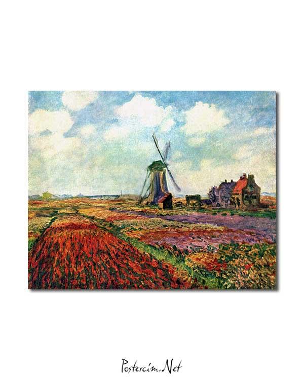 Claude Monet - Hollanda'da Lale Tarlası posteri