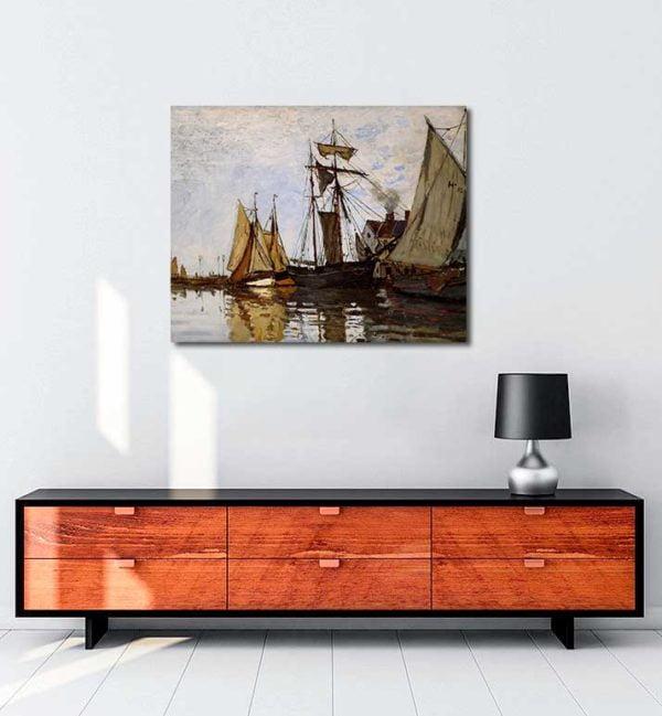 Claude Monet - Honfleur Limanında Tekneler kanvas tablo