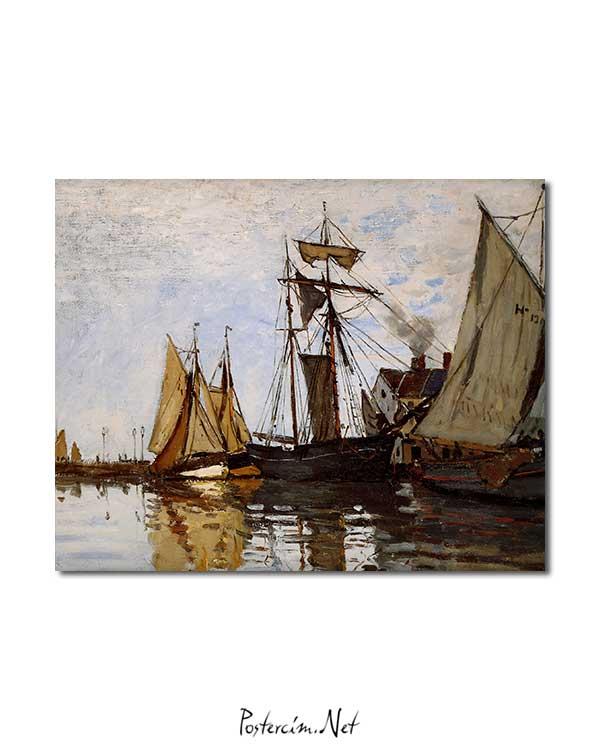 Claude Monet - Honfleur Limanında Tekneler posteri