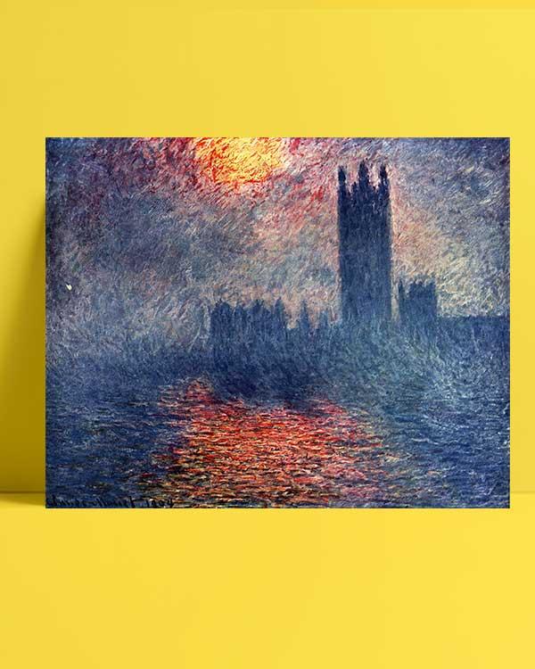 Claude Monet - Parlamento Binası Günbatımı afiş