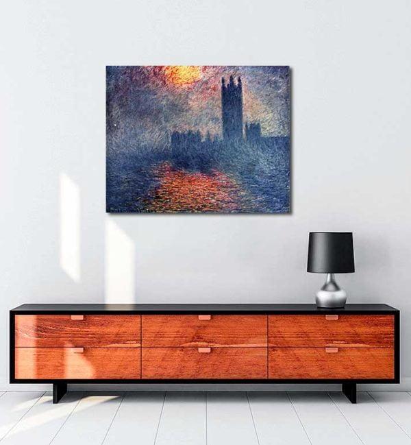 Claude Monet - Parlamento Binası Günbatımı kanvas tablo