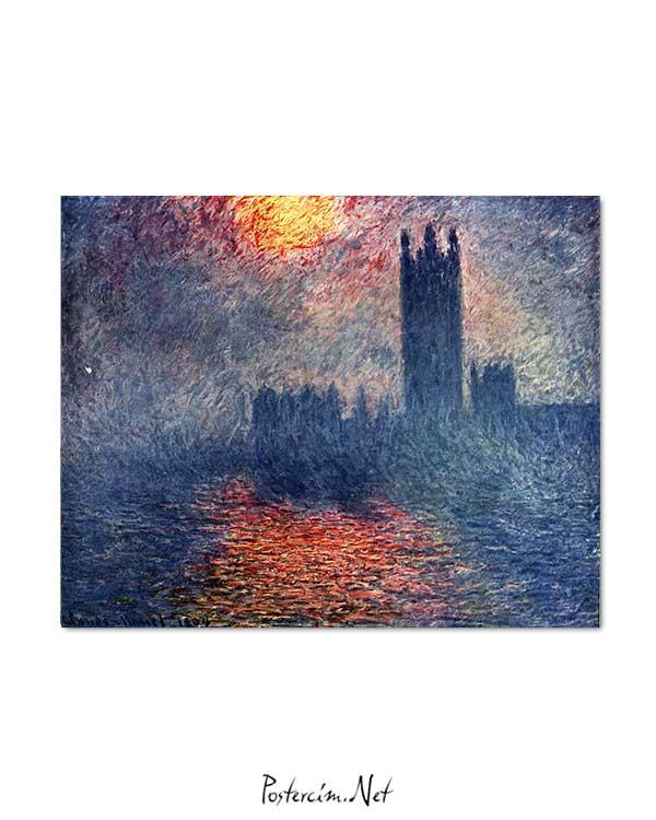 Claude Monet - Parlamento Binası Günbatımı posteri