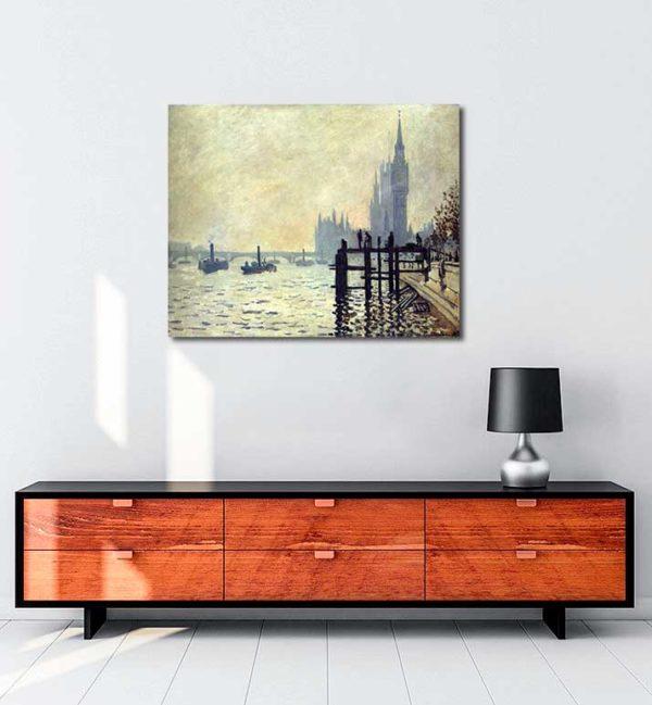 Claude Monet - Thames Nehri ve Parlamento Binası kanvas tablo